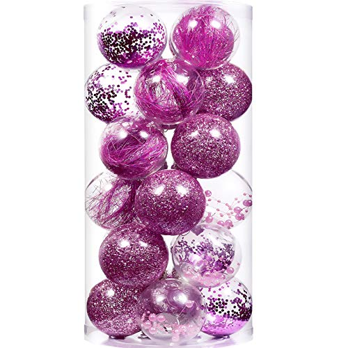 """XmasExp 24ct Christmas Ball Ornaments Shatterproof Large Clear Plastic Hanging Ball Decorative with Stuffed Delicate Decorations (70mm/2.76"""", Pink)"""