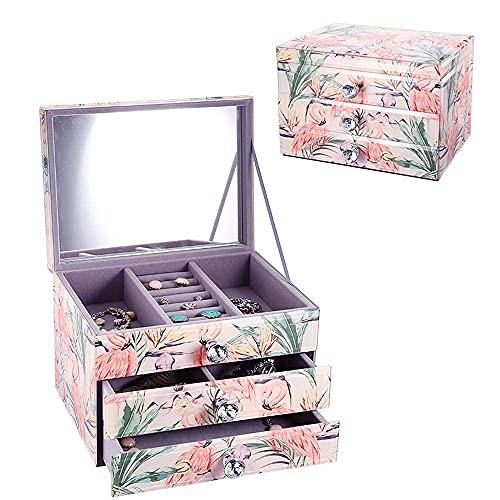 JIANGCJ Bella Caja de joyería de Vidrio Caja de Recuerdo Decorativa Caja de baratijas reflejadas Caja de joyería Personalizada Organizador de Almacenamiento para Gafas de joyería