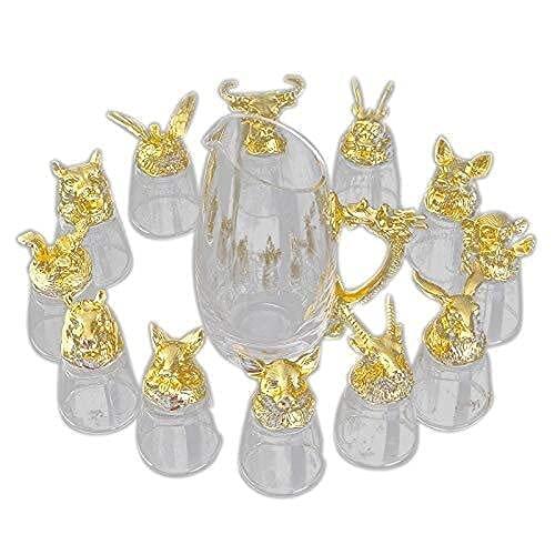 Vidrio Retro Un Juego de Vasos de Cristal para el hogar 12 Copas de Vino Blanco del Zodiaco Juego de decantador Restaurante Fiesta Copa de Vino Juego de Vino Retro Chino