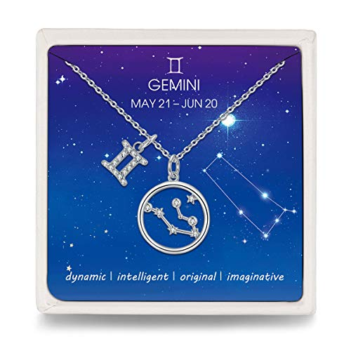Qings Gemini Necklace 925 Sterling Silver Zodiac Cubic Zirconia Pendant Necklaces for Women Girls