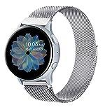 Senka 20mm Metal Correa Compatible con Samsung Galaxy Watch Active 40mm/Active2 40mm 44mm,Pulseras de Repuesto de Inoxidable para Samsung Galaxy Watch 42mm/Watch 3 41mm/Gear Sport(20mm,Plata)
