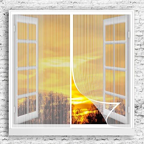 GOUER Cortina Mosquitera Magnética 110x125cm Adsorción Magnética Mosquiteras Puertas Cinta Trasera Ultra-Stick para Ventana, Blanco