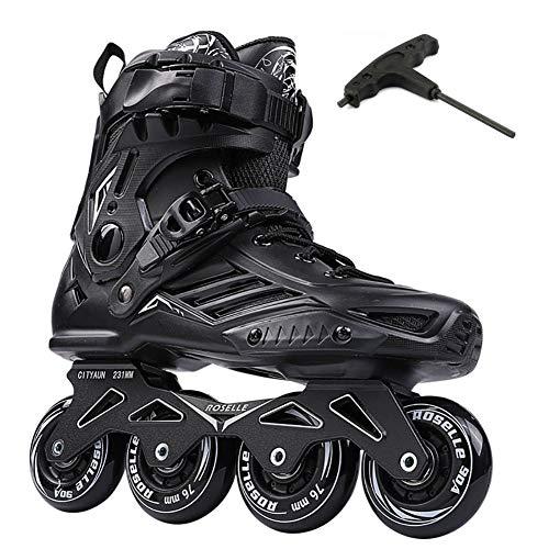 Roller Skates, Schlagfest Erwachsene Inline Skates Waschbarer Liner, Volles Fleischrad Rollschuhe Für Männer Frauen Anfänger, Doppelschnalle + Schnürsenkel,Bk,39EU=6.5UK=8.5US=24.5CM