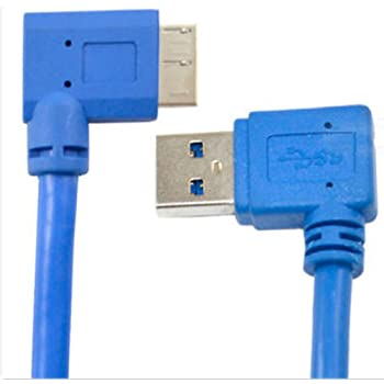 Blue,u-r CERRXIAN 30cm USB 3.0 A 90 Degree Up Angle Male to Micro B Male 10pin 90 Degree Right Angle Short Cable