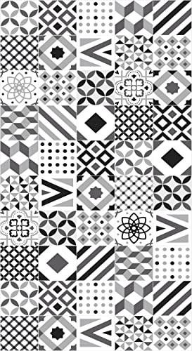 Lovib Alfombra Vinílica Geométrica | Color Negro | 40x80 cm | Vinilo PVC | Alfombra Cocina Vinilo | Alfombra Salón Antideslizante Antihongos Ignífuga | Alfombras Grandes | Alfombras PVC