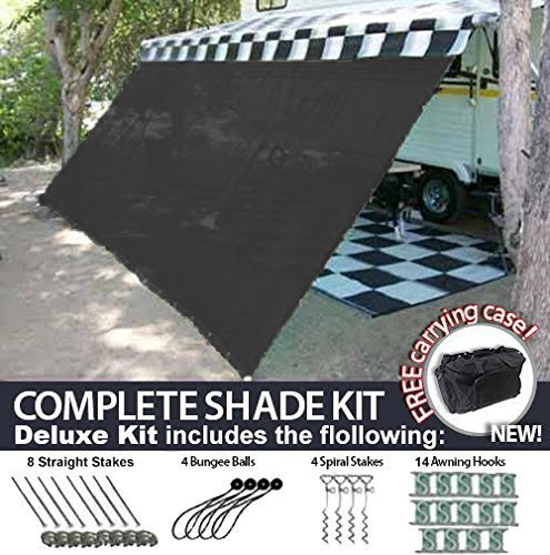EZ Travel Collection RV Awning Shade Motorhome Patio Sun Screen Complete Deluxe Kit (Black) (10'x18')