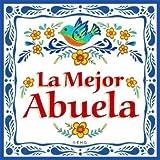 La Mejor Abuela Regalo para Abuela Cute Latino Gift Idea & Hispanic Gift for Grandmas Kitchen Unique Ceramic Decorative Refriderator Magnet 3x3 Tile