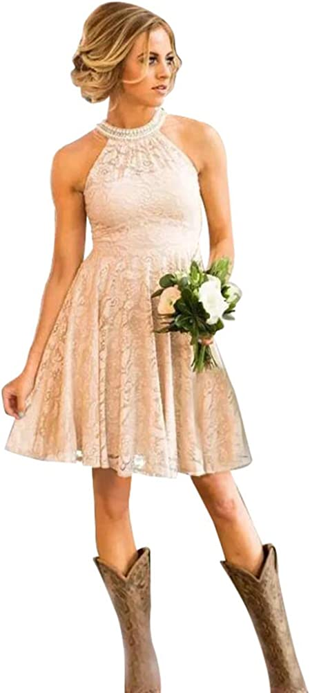 Halter Country Bridesmaid Dresses A Line Lace Beaded Knee Length Wedding Guest
