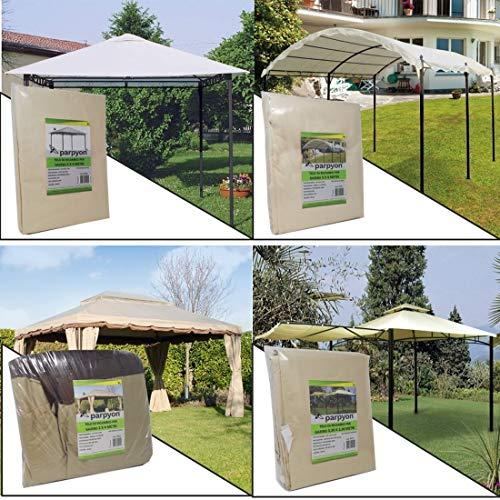 parpyon Telo Gazebo 3X3 Copertura in Tessuto Poliestere 100% - Telo per Gazebo da Giardino Esterno mt 3x3-3x4-3x2 - Vari Modelli – Colore Beige arredo Giardino (3X3 Style)