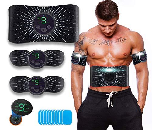 ROOTOK Electroestimulador Muscular Abdominales Aparatos para Hacer Ejercicio casa,Abdominales electroestimulacion,EMS Estimulador,Pantalla LCD,Gym en casa,Tóner Muscular Cinturones