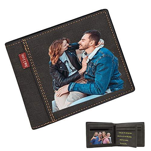 Cartera Billetera Hombre Personalizada con Foto,RFID Blocker Card,Regalos Personalizados,Impresión de Fotos de Texto