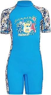Youth Boys Girls Kids One-Piece Short Sleeve Rash Guard Swimsuit UPF 50+ UV Sun Protective Sunsuit Swimwear Quick Dry for Beach Water Sports S