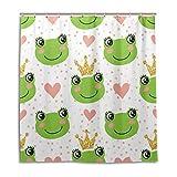 CPYang Duschvorhänge, süßer Frosch, gepunktet, Herzform, wasserdicht, schimmelresistent, 168 x 182 cm, mit 12 Haken