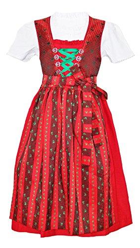 Isar-klederdrachten, dirndl Josie, 3-delig, Rood -% sale% meisjesjurk met blouse en schort maat 80-140