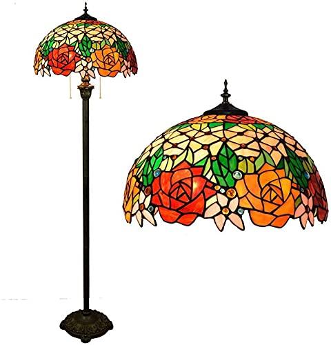 Dxg Lámparas de pie, Hermosa lámpara de pie de Tiffany Tiffany 2 Luces Manchado de Vidrio Pie de pie Lámpara Interior Iluminación Interior Lámpara Decorativa