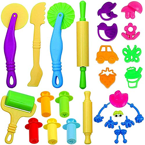 JPSOR 26pcs Clay Dough Tools Kit Dough Playset Includes Extruder Tools, Animal and Plant Shape Cutters and Molds (Random Color)