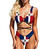 herbeier Bikini Set High Waisted Dominican Republic Flag Map Adjustable Two Piece Swimsuits Adjustable for Women