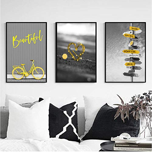 Nordic affiche grijs canvas afbeelding fiets druk op canvas geel in hartvorm poster en reliëf Nordic huis decoratie 40 x 60 cm x 3 zonder lijst