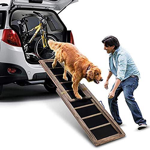 BELS Hunderampe für große Hunde Teleskope, rutschfeste tragbare Hunderampe fürs Auto, Massivholz Hunderampe umweltfreundlich und langlebig