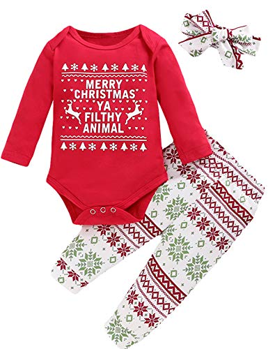 Shalofer Baby Girl Merry Christmas Romper Newborn Xmas Gift Outfits with Headband (Red,0-3 Months)