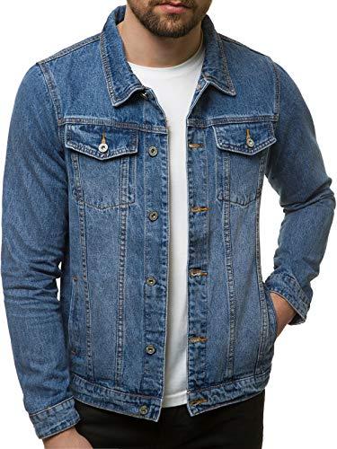 OZONEE Herren Jeansjacke Jacke Jeans Übergangsjacke Herbstjacke Vintage Herrenjacke Herbst Übergangs Denim Bikerjacke Jacket Denim Winter Knopfverschluss T/7518 BLAU XL