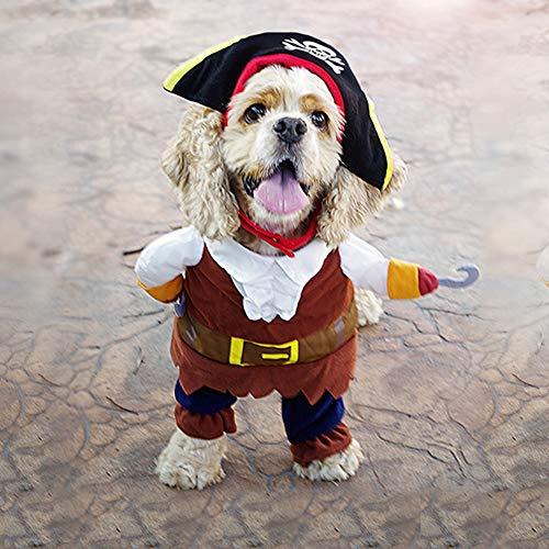 XDYFF Halloween Pet Kostüm EIN Aufrechter Pirat Als Hund, Eine Gitarre Als Witz,A,S