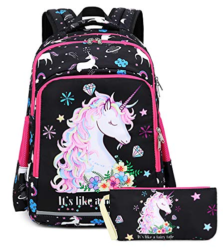 Girls Backpack Elementary Kids Fairy Bookbag Girly School bag Children Pencil Bag (Space Galaxy Black - Fairy tale unicorn 2pcs)