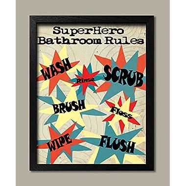 Superhero Rules Bathroom Rules; Wash Flush Brush Floss Scrub Rinse; Kids Bathroom Decor; One 11x14in Black Framed Print