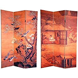 Amazon Chinese Landscape Canvas Room Divider in Orange and Foldable