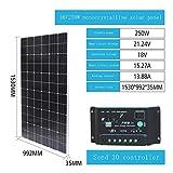 ZSPSHOP Panel De Silicio Monocristalino De 18v100w Vatios Panel De Carga Solar Componente De Sistema De Generación De Energía Fotovoltaica En El Hogar,250W