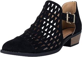 Yowablo Bottes Femmes Mode Boucle en Cuir évider Bout Pointu Chaussures à Talons Bas Cheville