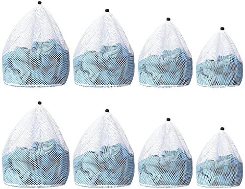 SHANQIAN 4 Tailles Différentes Filet Linge Machine à Laver, Filet Lavag en Maille avec Corde Pour Vêtements, Chaussettes, Sous-vêtements - Lot de 8 PCS