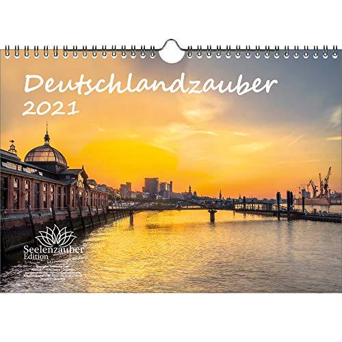 Deutschlandzauber DIN A4 Kalender für 2021 Städte Deutschland - Geschenkset Inhalt: 1x Kalender, 1x Weihnachtskarte (insgesamt 2 Teile)