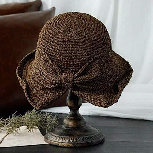 Sombrero de rafia con lazo para el sol, sombreros de verano flexibles...