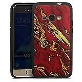DeinDesign Silikon Hülle kompatibel mit Samsung Galaxy J1 (2016) Hülle schwarz Handyhülle Rot Glitter Gold