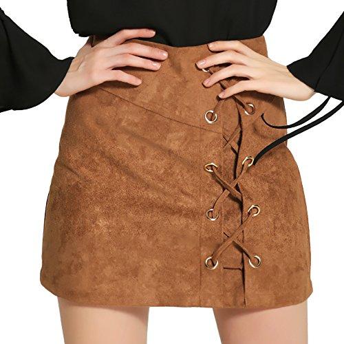 DUBACH Women's High Waist Faux Suede Khaki A-Line Skirt(Khaki,S)