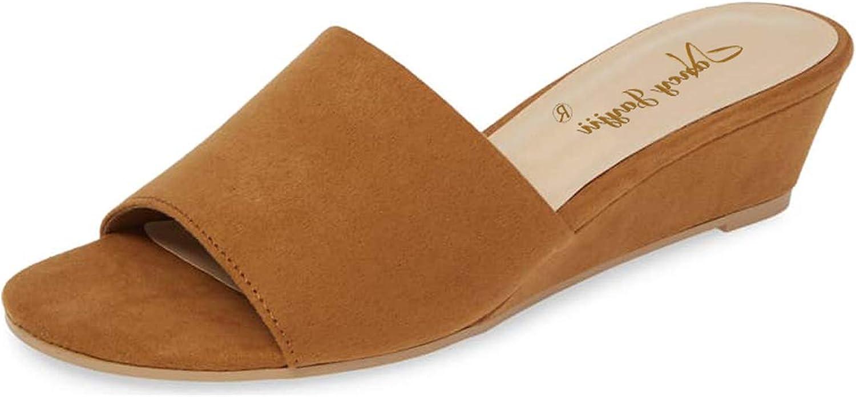 NJ Women Fashion Open Toe Low Wedge Heels Slide Sandals Summer Casual Suede Slipper shoes