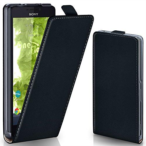 MoEx® Flipcase passend für Sony Xperia M2 | Klapphülle Handytasche mit Rundum Schutz - Handy Hülle Klappbar Flip Case, Schwarz