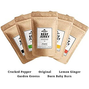 Special Offer   Premium Beef Jerky   >70% Protein   <2% Carbs   All 5 Flavours in 1 Set   Finally Available   Produced in Germany (5 x 50g = 250g)