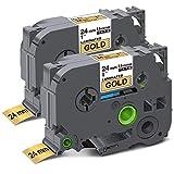 Unismar Compatible Label Tape Replacement for Brother P-Touch TZe-851 TZ851 TZe851 for PT-D600 PT-P700 PT-2430PC PT-D600VP PT-D800W PT-P900W PT-P950NW Label Maker, 1' x 26.2', Black on Gold, 2-Pack