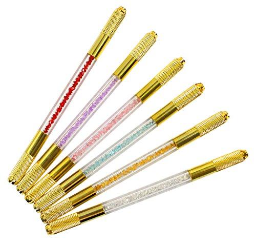 Xiaoyu stylo à micropales en cristal, trousse de tatouage manuel double face pour fournitures de maquillage permanent, 6 couleurs.