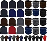 36x Winter Gloves, Beanies, Neck Warmers Unisex Bulk Pack Donation Charity Care Bundle (Assorted (12 Beanies / 12 Pairs Gloves / 12 Neck Warmers))