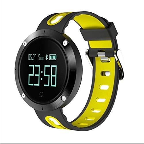QX Wine rack IAIZI Fashion sport smart horloge Hartslag/bloeddruk monitoring Bluetooth stap informatie herinnert waterdichte smart watch vakmanschap prachtige gezondheid testen (Kleur: Geel)