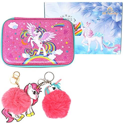 HH Family Llama Unicorn Pencil Case for Girls Hardtop Zipper Pouch with Compartments and 2 Pcs Fur Ball Key Chains (Glitter Unicorn A)