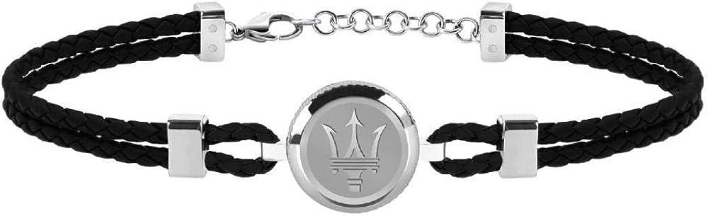 Maserati collezione jewels bracciale da uomo in acciaio, smalto e cuoio JM217AJF27