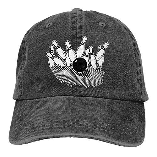 Unisex Baseball Cap Baumwolle Denim Hut Bowlingkugel Markante Bowling Pin verstellbare Snapback Solid Hat wunderschöne 3236