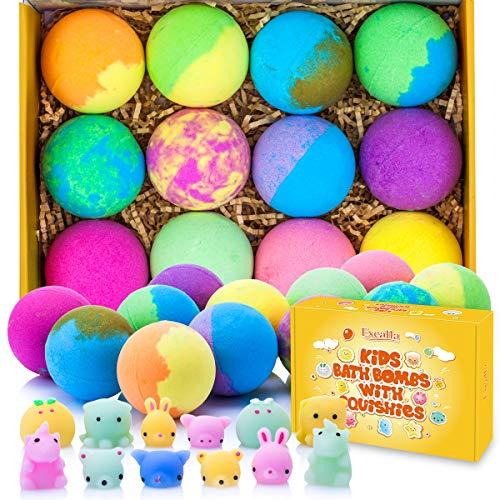 Bath Bombs for Kids with Surprise Toys Inside - Bubble Bath Fizzies Vegan Essential Oil Spa Bath Fizz Balls Kit Dry Skin Moisturize, Handmade 12 Set