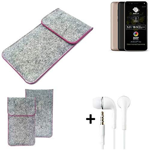 K-S-Trade Filz Schutz Hülle Für Allview A9 Plus Schutzhülle Filztasche Pouch Tasche Hülle Sleeve Handyhülle Filzhülle Hellgrau Pinker Rand + Kopfhörer