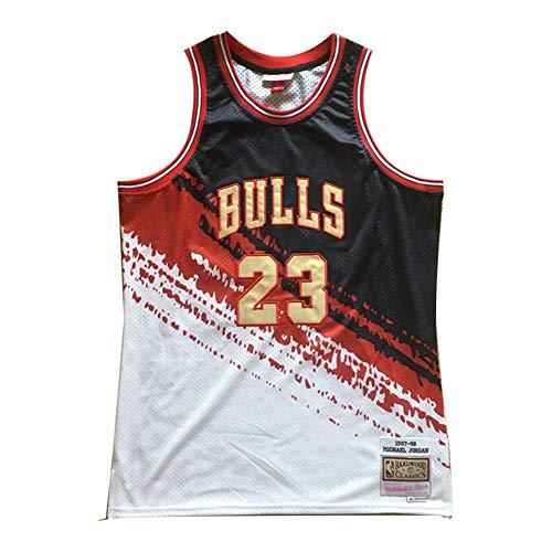 CLKJ Herren-Basketballtrikot - Nr. 23 Michael Jordan-Chicago Bulls Retro bestickte Basketballuniform, ärmellose Unisex-Mesh-Basketball-Swingman-Sportbekleidung (S-2XL)-Color 6-S