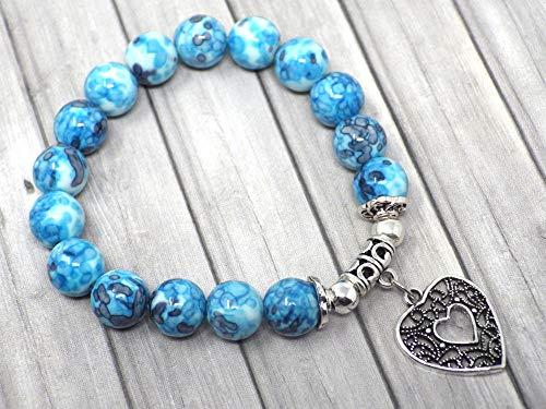 Jade perlen armband für Frauen blau gefärbt und filigraner Anhänger in Form eines Herzens